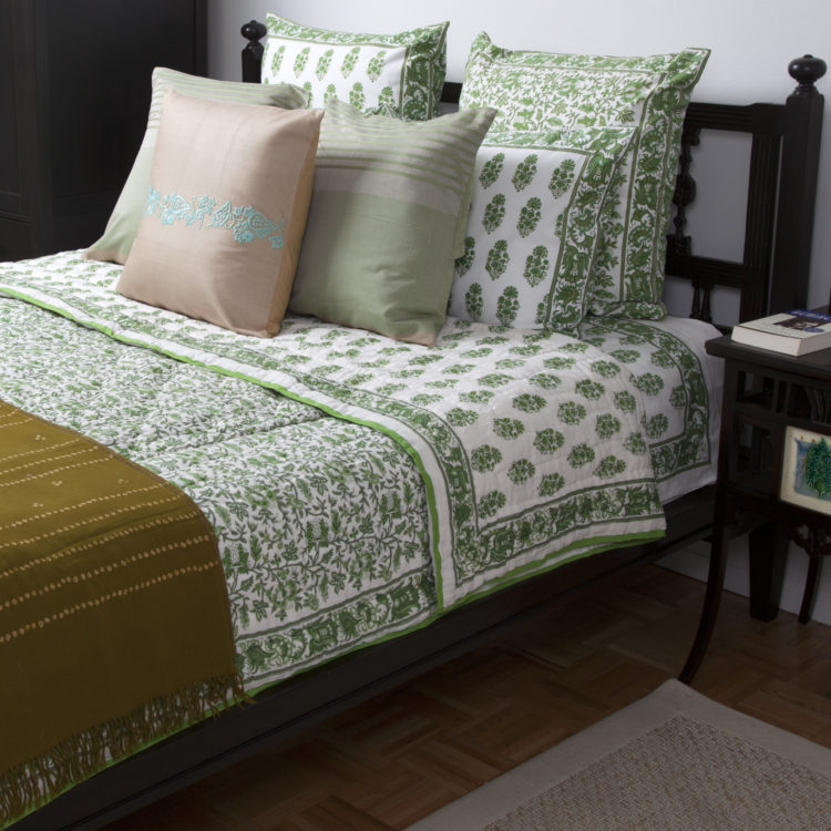 MarigoldStyle Handmade Bedding Collection - Aria-Riya Green design