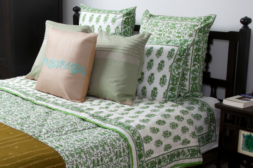 MarigoldStyle handcrafted bedding collection - Aria-Riya green design