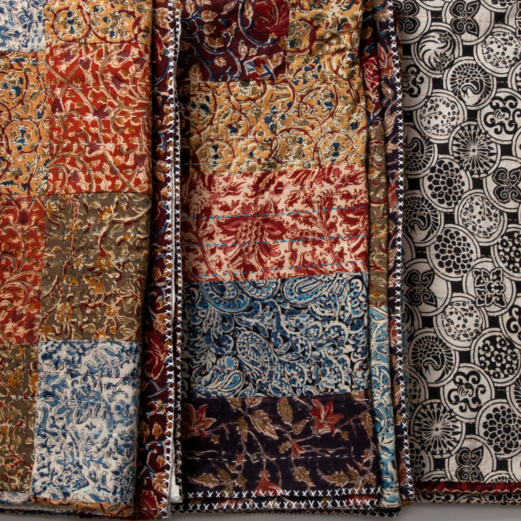 MarigoldStyle kalamkari kantha style patchwork and hand stitched quilts