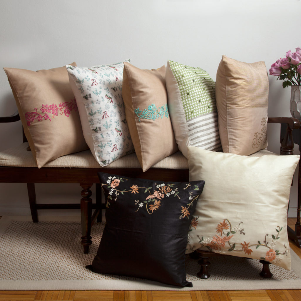 MarigoldStyle silk hand woven and embroidered pillow covers