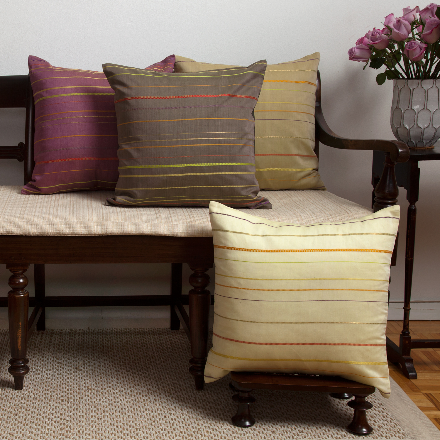 MarigoldStyle rainbow weave pillow covers