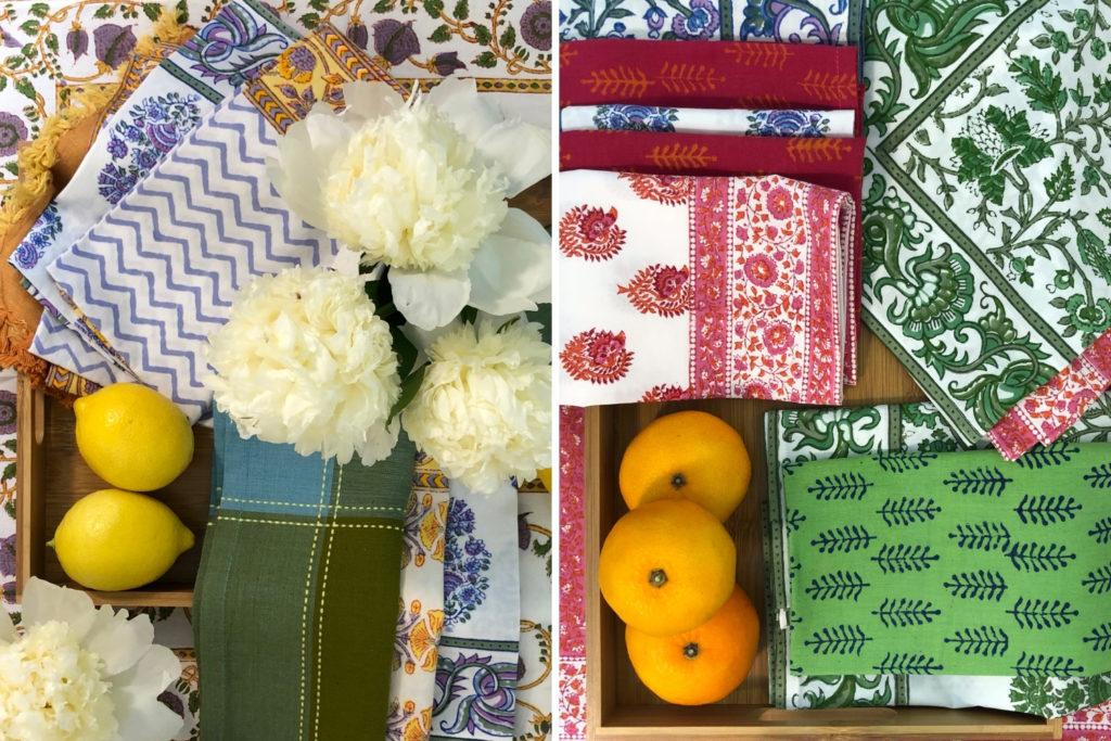 Marigold Living block printed table linens