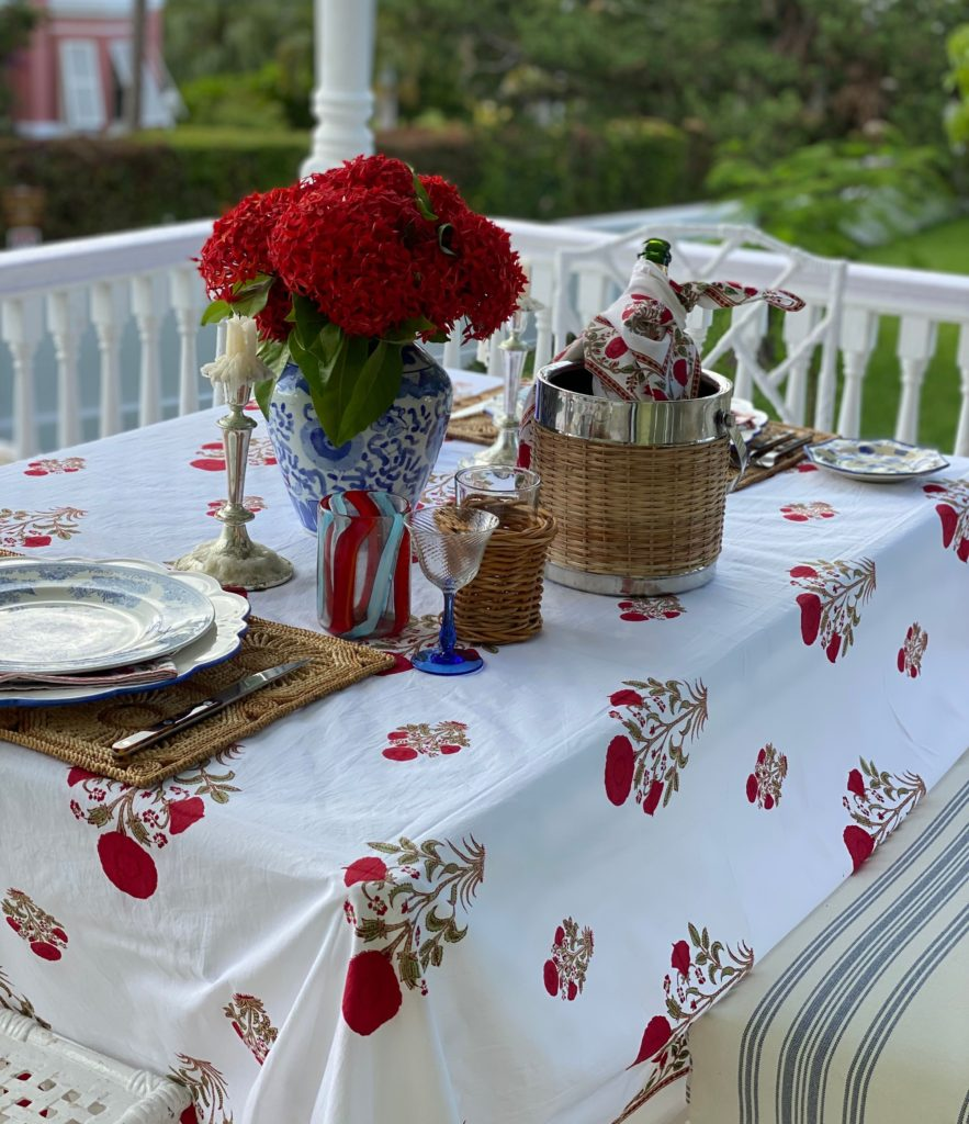 floral bermuda style block printed tablecloth