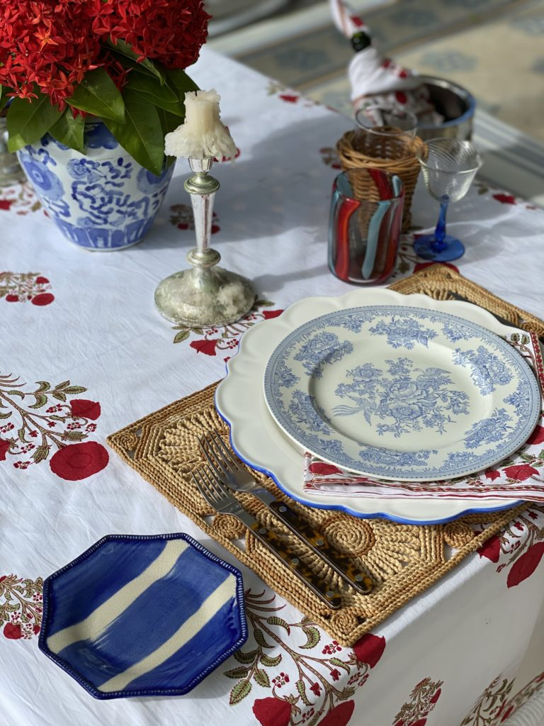 decorating with a red floral block printed table cloth