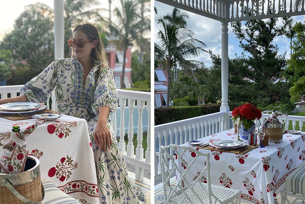 bermuda style block printed tablecloth