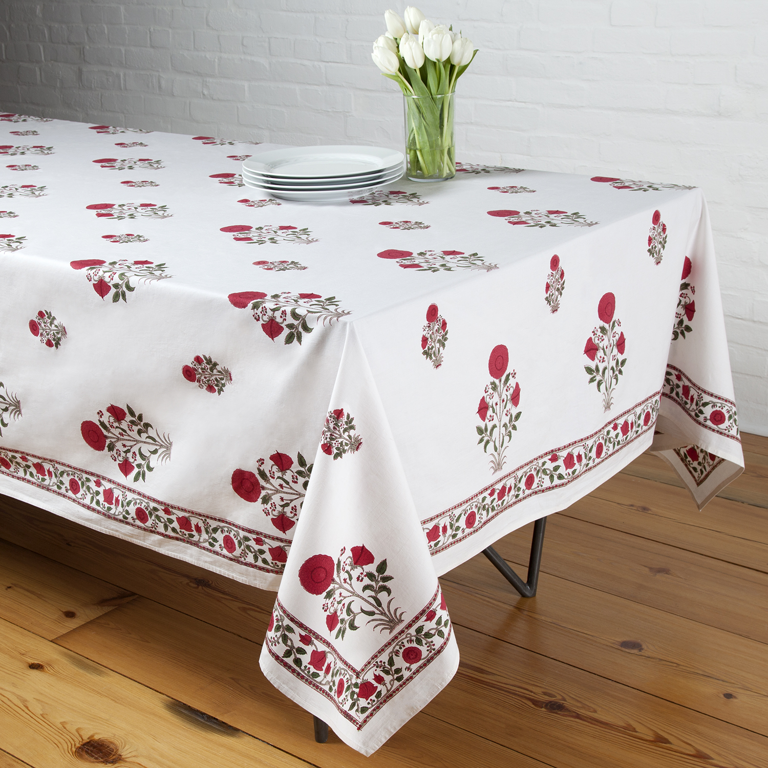 Floral Indian Cotton Hand Block Printed Table Cloth Rectangle 6 seater