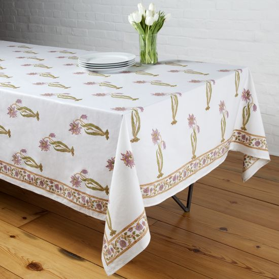 Florence Tablecloth   Lilac/Green