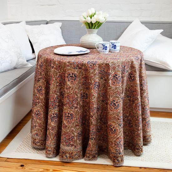 Iznik Floral Print Round Tablecloth   Salmon Beige