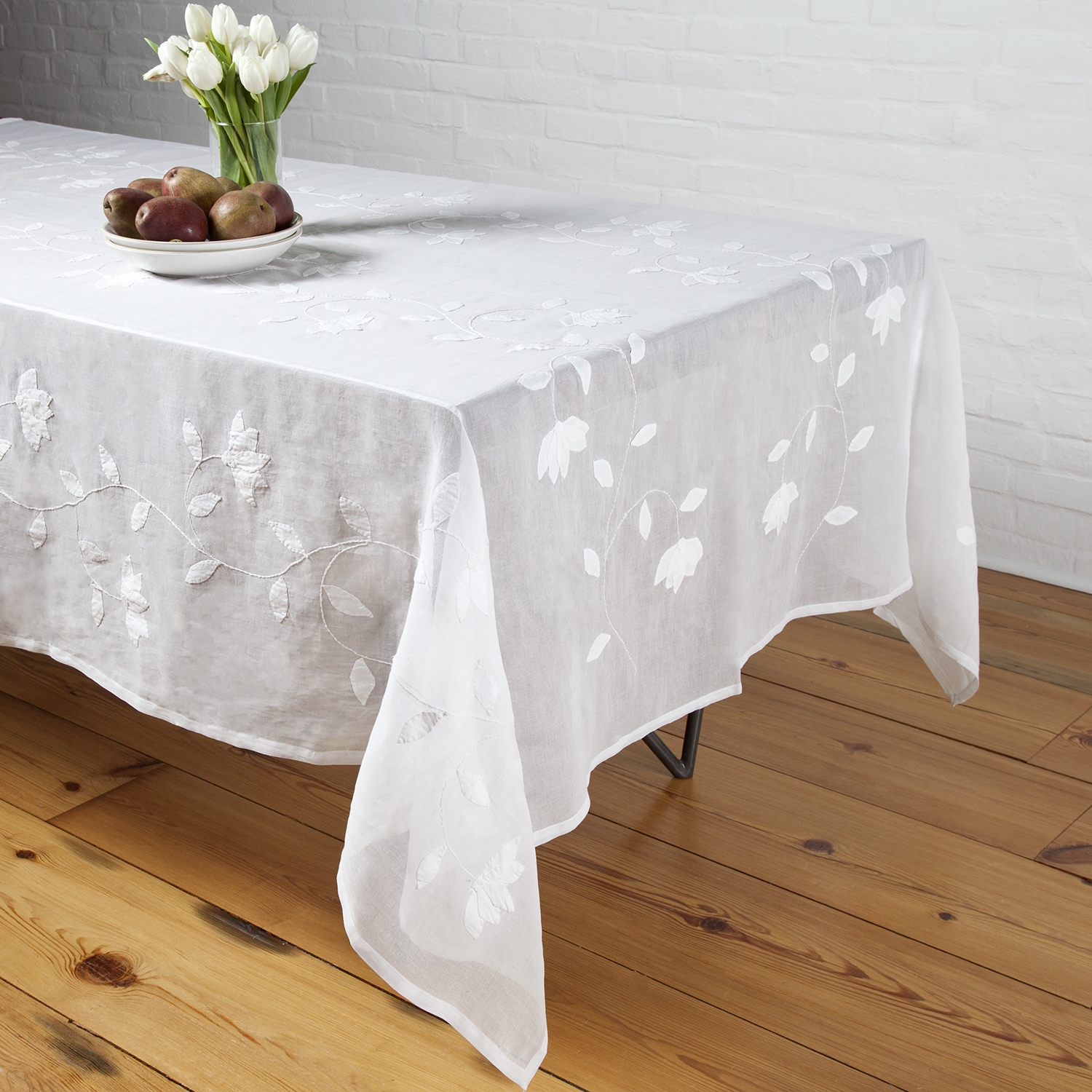 Liana Applique Tablecloth   White