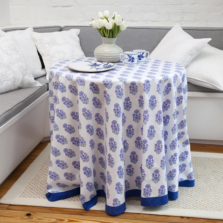 Riya Round Tablecloth   Lavender/Blue
