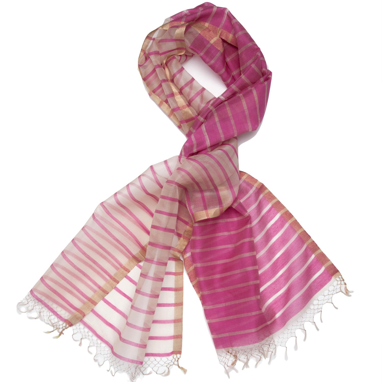 43d0365c8 Silk Striped Scarf - Fuchsia/Pearl: marigoldliving.com